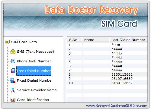 Показать скриншот Sim Card Data Recovery.